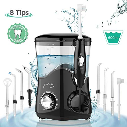 Electric Water Flosser,Professional 600ml Power Dental Countertop Oral Irrigator,Water Pick Teeth Cleaner w/ 10 Pressure Settings 8 Rotatable Multifunctional Tips for Braces Care Home