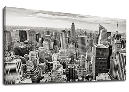 s Wall Art Empire State Building Manhattan Scenery Painting Black and White Long Canvas Artwork New York City Contemporary Picture for Home Office Wall Decor 24