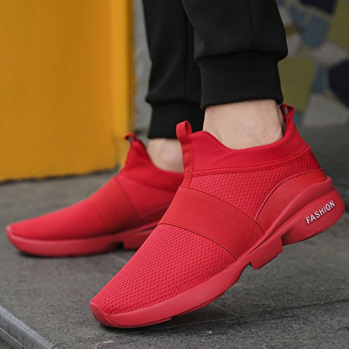 Hunputa Mens Fashion Sneakers Beathable Mesh Shoes Wild Slip-On Casual Shoes Sport Running Travel Shoes Red ywD7Ne6