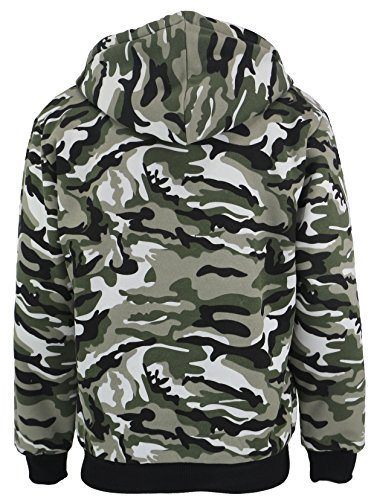Lee Hanton Men's Full Zip Heavyweight Sherpa-Lined Fleece Hoodie Jackets (Large, Camo Green)