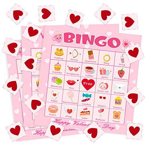 Big Save! WATINC 41pcs Valentine's Day Bingo Game, Valentine Party Games with 24 Players , Valentine...