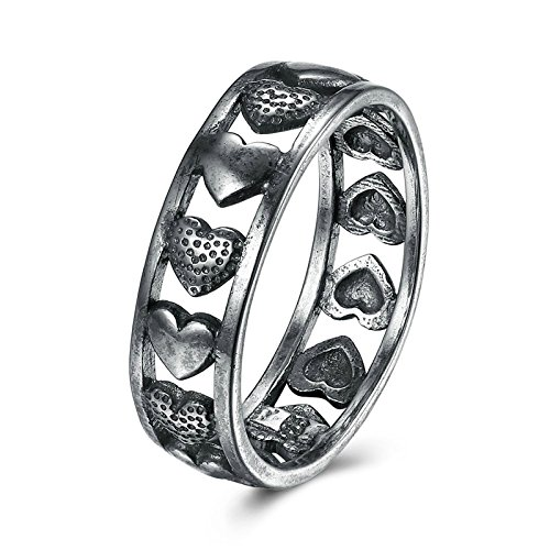 (Adisaer Women Rings Silver Plated 7MM Heart No Stone Size 9 Wedding Ring Bands for Bride)
