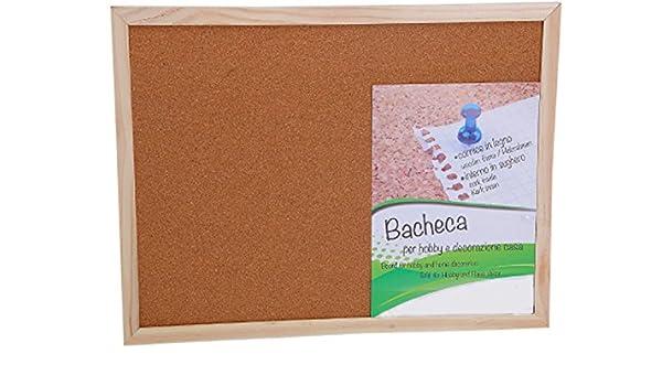 Pizarra/tablón de notas, de corcho, para chinchetas, marco de madera neutro, cm 45 x 60: Amazon.es: Hogar