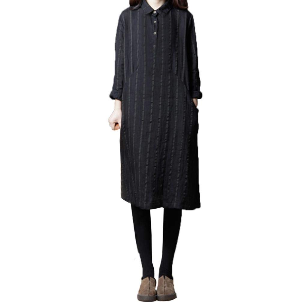 Women Plus Size Linen Long Dress Printing Cotton And Long Sleeves Loose Dress