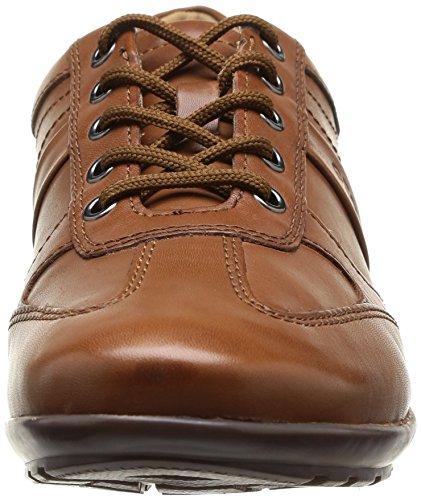 und Geox dezenter Braun Sneakers Herren Top mit Symbol Logoprägung U Cognacc6001 C Ziernähten High qnvRAqx