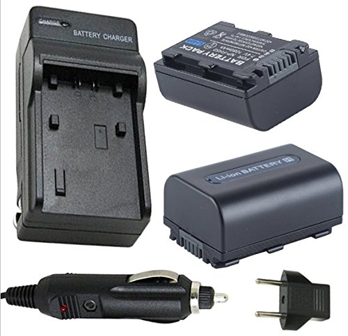 Battery (2-Pack) and Charger for Sony DCR-DVD610, DCR-DVD710, DCR-DVD810 Handycam Camcorder