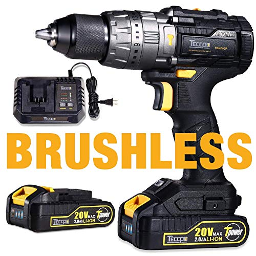 Brushless Drill Driver 20V MAX, TECCPO Professional 60Nm Cordless Drill  with 2 Batteries 2 0Ah, 30mins Fast Charger, 21+3 Torque Setting, LED  Light,