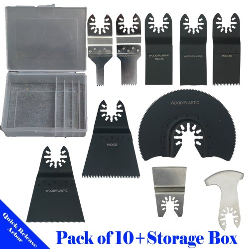 Pack of 10 + Storage Box Quick Release Universal Fit Multi Tool Oscillating Multitool Saw Blade for Craftsman 20v Bolt-on Mm20 Rockwell Hyperlock Shopseies 12v Universal Fit Porter Cable Black and Decker Bosch GOP Tool Free Quick Release System