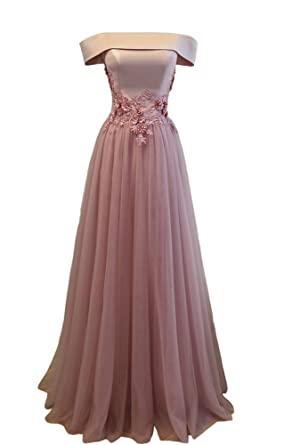 Off Shoulder Lace Appliques Corset Tulle Prom Dress Evening Gown Pink 2