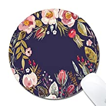 Yanteng 29 personalized Vintage floral wreath office desktop or gaming ergonomic medium large Cloth surface Natural rubber Round Mouse Pad for mac and windows gamer