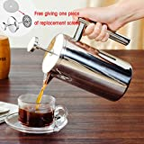 French Press Coffee Maker, Double Walled Stainless Steel Cafetiere Insulated Coffee Tea Maker Pot Filter Baskets For Kitchen Coffee Bar (800ML,Silver)