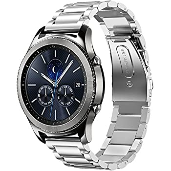 Shangpule Compatible Gear S3 Bands, Galaxy Watch 46mm Bands, 22mm Stainless Steel Metal Replacement Strap Bracelet Compatible Samsung Gear S3 Classic and S3 ...