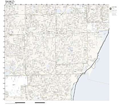 Amazon Com Zip Code Wall Map Of Kendall Fl Zip Code Map Laminated