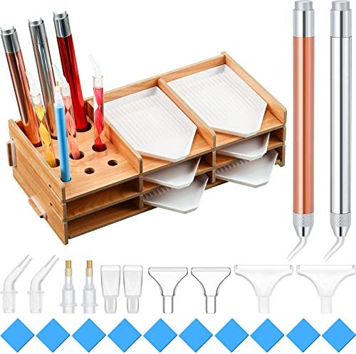 Diamond Painting Accessories Kits Wooden Diamond Painting Tray Organizer Multi-Boat Holder with 6 Trays and a couple of Pieces LED Diamond Painting Pens 10 Pieces Glue Clay and 10 Pieces Pen Heads for Craft Art
