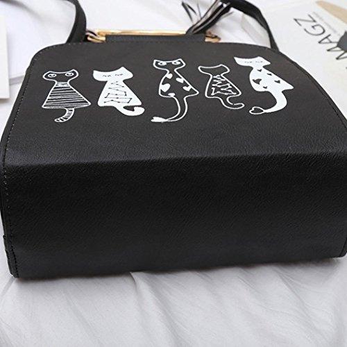 de zarupeng gato de Bolso patrón hombro borla con de Negro wqFHBCw