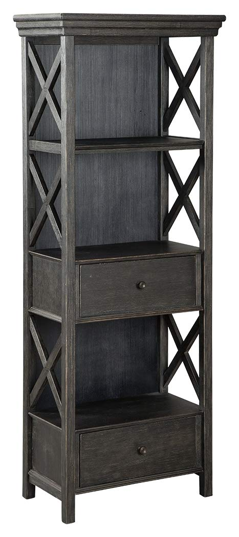 Ashley Furniture Signature Design – Tyler Creek Display Cabinet – 2 Drawers – 3 Shelves – Black