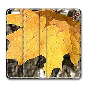 iPhone 6 Leather Case, Personalized Protective Flip Case Cover Yellow Leaves for New iPhone 6