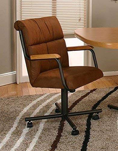 Casual Rolling Caster Dining Arm Chair with Swivel Tilt Set of 2 Cocoa