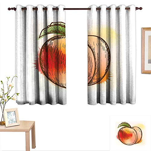 "Luckyee Peach Blackout Draperies for Bedroom Fresh Fruit Full of Vitamins and Nutrition Food Sketch Color Splatters 63""x 72"",Suitable for Bedroom Living Room Study, etc."