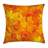Ambesonne Fall Throw Pillow Cushion Cover, Seasonal Maple Tree Leaves Botanical Foliage Vibrant Floral Forest Texture Image, Decorative Square Accent Pillow Case, 26 X 26 Inches, Orange Yellow