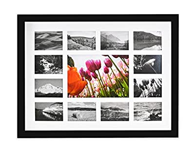 Golden State Art 12x16 Frame - 13 Opening Mat - Displays One 5x7 Photo and Twelve Pictures - Collage Frame - Real Glass, Sawtooth Hangers, Swivel Tabs - Wall Mounting, Landscape, Portrait