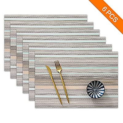 "Sayopin Place Mats Set of 6 Heat Insulation Stain Resistant Placemats for Dining Table Durable Cross Weave Woven Vinyl Kitchen Table Mats Placemat (Blue Stripes-6) - ♥【Luxurious Material】:This set of 6, rugged, reusable, exquisite placemat is woven from an eco-friendly, high-grade vinyl cross that has been tested by the FDA and is safe, non-toxic and safe to use! ♥【Exquisite Craft】:Luxurious vinyl woven texture, precise cutting, no rough edges, medium weight and suitable thickness, giving your table a royal feel for everyday use, parties, dinners, parties, restaurants, wedding receptions wait. ♥【Perfect Size and Color】:Our perfect table mat is suitable for tables of all sizes and shapes. Placemat size: 18"" x 12"". The six colors blend perfectly with your interior to add a lively touch to your home. Or a quiet atmosphere. - placemats, kitchen-dining-room-table-linens, kitchen-dining-room - 51ZmLANDqPL. SS400  -"