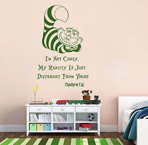 ik2581 Wall Decal Sticker Alice in Wonderland Cheshire Cat Quote Bedroom Children's Room -