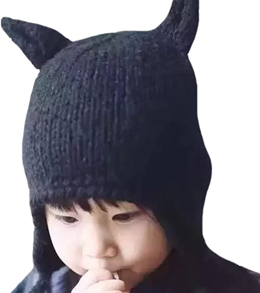 Toddler Warm Cap Antlers Hat Woolen Caps Kids Baby Knitted Cute Accessories