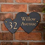 Rustic Slate Double Heart Shaped House Sign personalised with your address - Free postage in UK