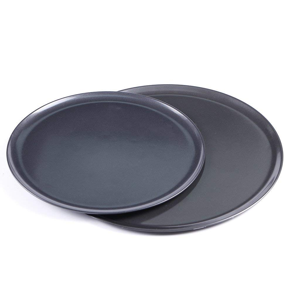 Webake 2 Pcs Bakeware Set Homemade Pizza Round Pan Non-Stick Pizza Tray - Carbon Steel, Black, 10 Inch and 12 Inch
