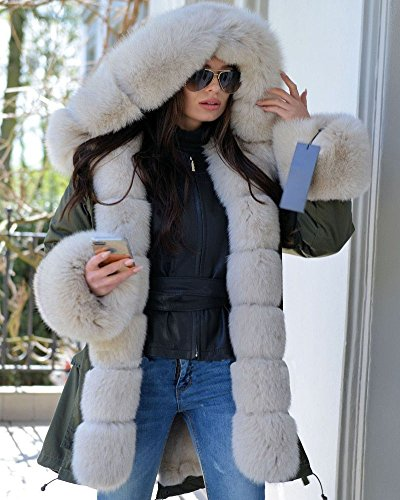Winter Thick Roiii Long Fur Parka Hood Warm Size Women 18 Coat Amry Jacket 8 Faux Milk 5gqntgUxr