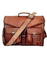The Vintage Stuff 18 Inch Vintage Handmade Leather Messenger Bag for Laptop Briefcase Satchel Bag