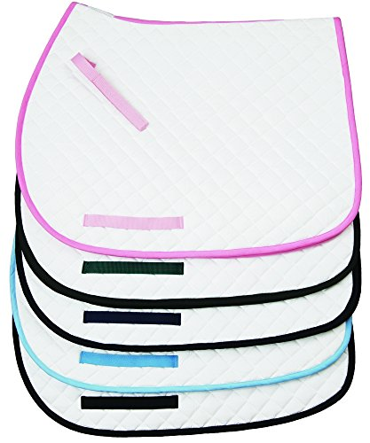 TuffRider Basic All Purpose Saddle Pad W/trim - White/Navy (Tuffrider Pony)