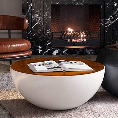 Homary Modern Round Drum White Black Coffee Table Hollow Interior Storage with Brown Top 1 Piece White
