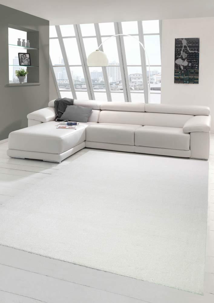 Wohnzimmer Teppich modern Kurzflor mit Uni Design in Creme Größe 160x230 cm