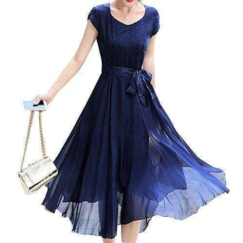 Blau Seide Übergröße Midi Kleid DISSA Abendkleid Linie Damen Kleider A S68096 Einfarbig qwP0B6