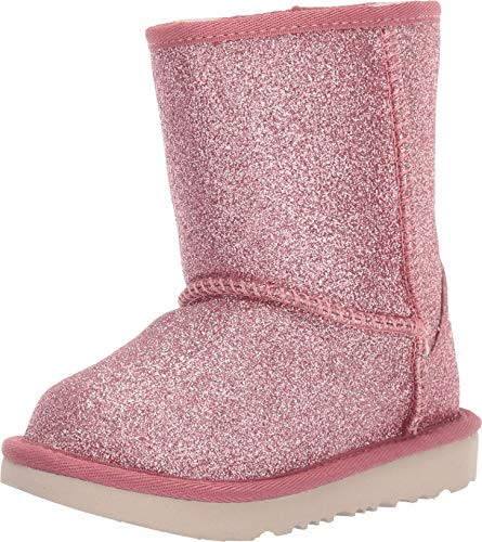 UGG Girls' Classic Short II Glitter Fashion Boot, Pink, 10 M US Toddler