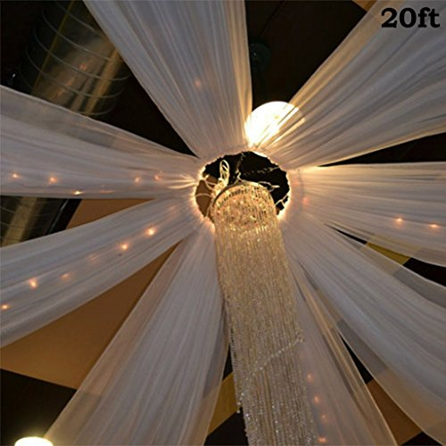 BalsaCircle White 20 feet Long Premium Sheer Voile Ceiling Draping Panel - Wedding Ceremony Party Home Decorations