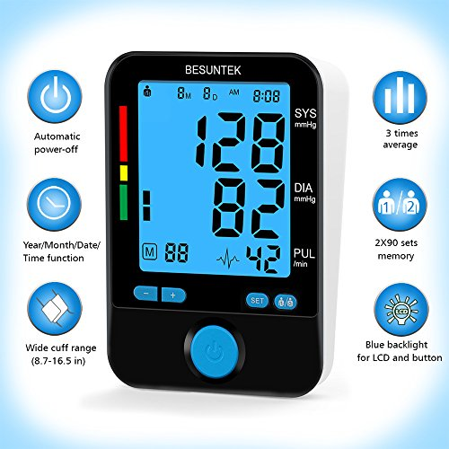Blood-Pressure-Monitor-Upper-Arm-with-Blood-Pressure-Cuff-87-165-inch-and-Backlit-LCD-Display-290-Memory-Store
