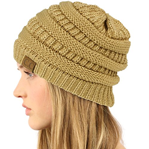 SK Hat shop Unisex Winter Chunky Soft Stretch Cable Knit Slouch Beanie Skully Hat Metal Gold
