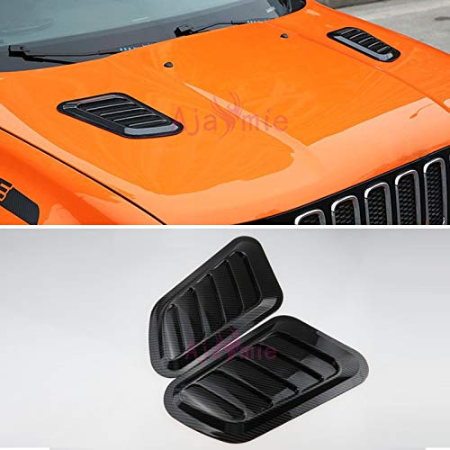 Ajaymie for Jeep Renegade 2016-2018 Car Hood Carbon Fiber Color Frame Panel Cover Trim Car Styling Accessories (Black) cheng auto part co. Ltd.