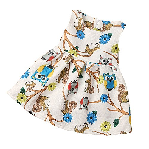 Clearance! Baby Girls Sleeveless Owl Print Dress Party Cocktail Dresses (6T)