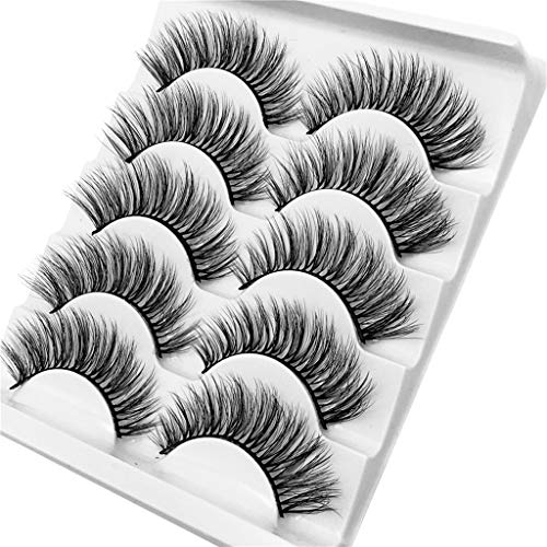 Tonsee 3D Eyelash Imitation Mink Natural Thick False Eyelash 5 Pairs Natural Look False Fake Lashes Makeup Kit