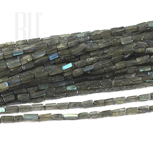 - Be You Grey with Blue Flash Color Natural African Labradorite Gemstone Plain Rectangle Beads 5 Lines Loose 13 inch Strand