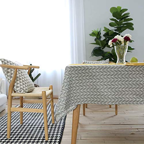 YQ Park Geometric Series Tablecloth Arrow Pattern Tablecloth - Cotton Linen Table Cover Kitchen Dining Room Restaurant Party Decoration (Gray, Rectangle - 55x55in) ()