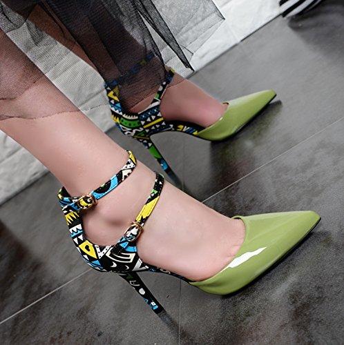 Chaussures Nouveaux Couleur Talons Avec Des Mot Khskx Un les Pointus Green Sexy Unique De qAFc1wpS