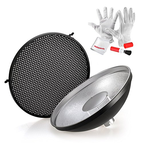 Godox AD-S3 Beauty Dish Reflector with Honeycomb Cover for Godox Witstro AD200 Pocket Flash Godox AD180 AD360 AD360II Flash Speedlite – Including PERGEAR Cleaning Kit