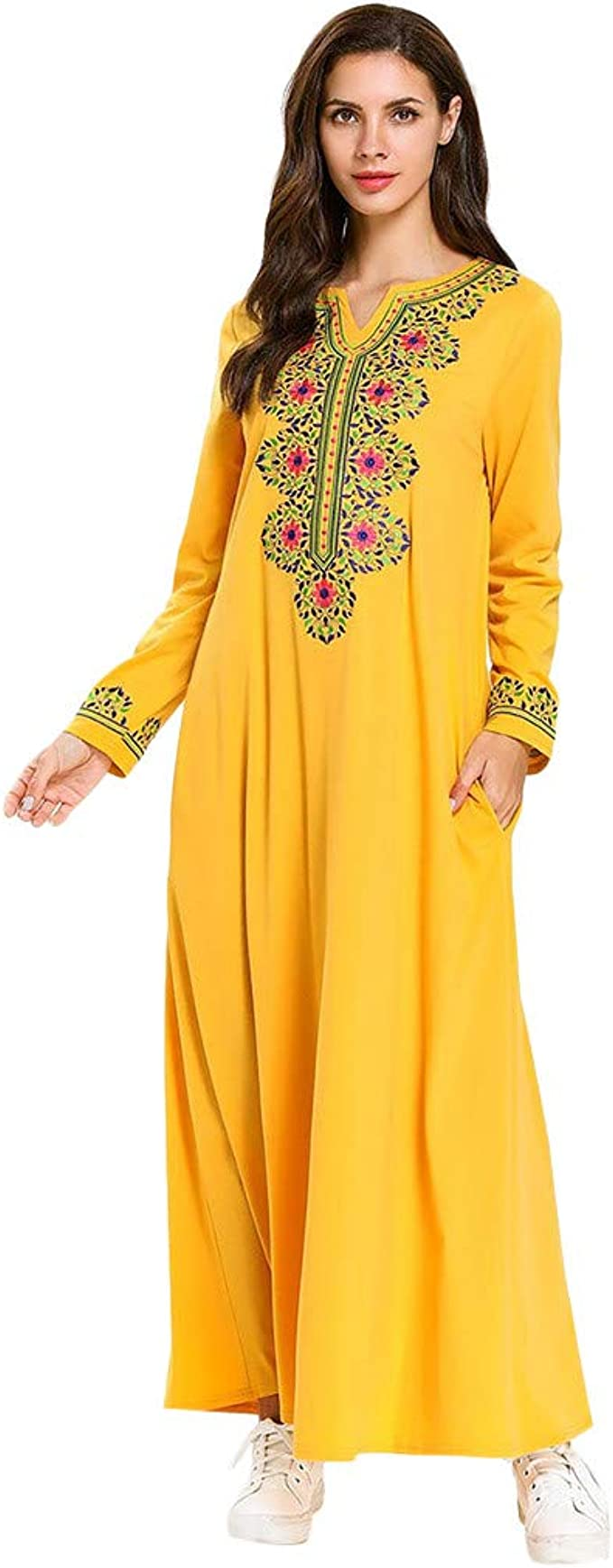 Yajiemen Women Muslim Printing Longsleeve Arab Dress Islam Jilbab Dress