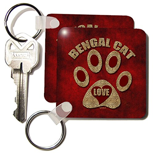 Doreen Erhardt Cat Breed Collection - Bengal Cat Love Cat Breed in Cheetah Print and Red - Key Chains - set of 2 Key Chains (kc_21994_1)