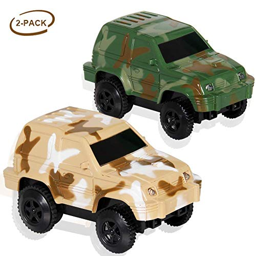 Dinosaur Race Track Replacement Car (2 Pack), Electric Light up Military Jeep, Blue Police Car, Compatible with Most Racing Tracks,Gift for Boys and Girls